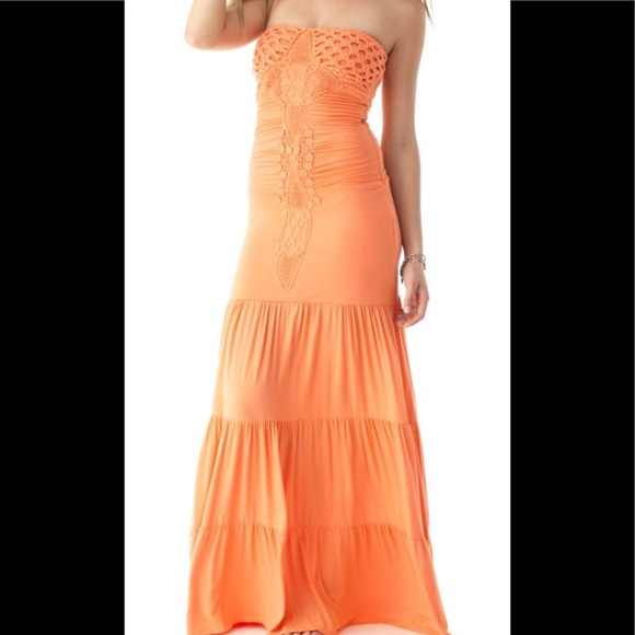 Sky Dresses & Skirts - $300 SALE! Neon 🍣Creamsicle Sky Maxi Slinky Dress